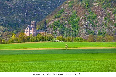 View Of The Historic Burg Katz Castle On The Rhine