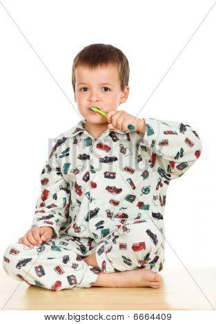 Kid Brushing Teeth Before Bedtime
