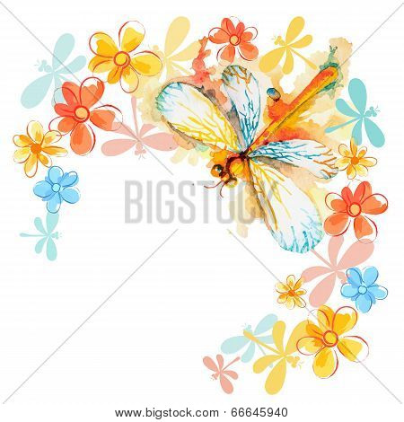 Orange Dragonflies With Flowers