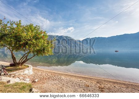 Early misty morning on the beach with sea and mountain views. Kotor bay. Montenegro