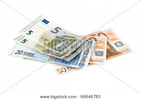 Euro banknotes isolated over white with clipping path.