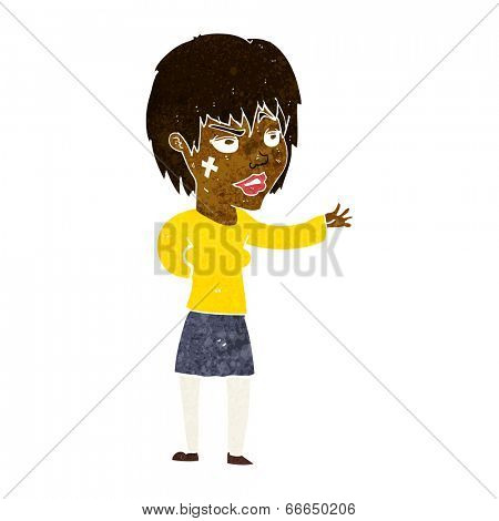 cartoon woman with sticking plaster on face
