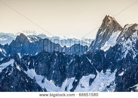 View Of Mont Blanc Mountain Range From Aiguille Du Midi In Chamonix - Landscape Orientation