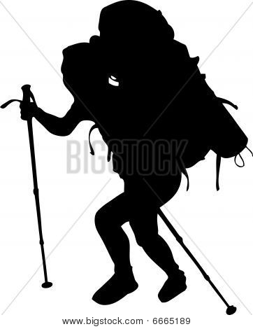 Hiking woman in black