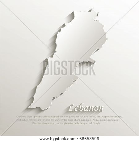 Lebanon map card paper 3D natural vector