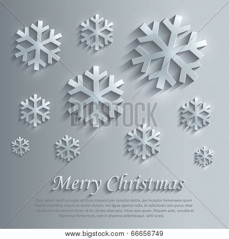Merry Christmas snowflake glass card paper 3D blue vector flake