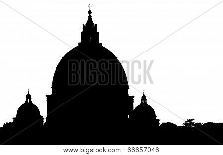 Saint Peter's Basilica dome in Vatican City, Rome, isolated on white background