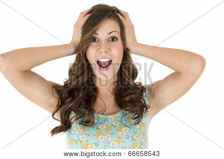 Brunette Female Model With A Surprised Or Astonished Expression