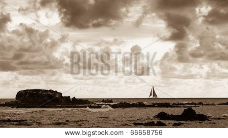 Rocky Ocean Coast Sunset