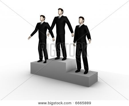 Three businessmans  stand on a podium