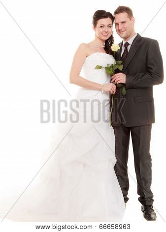 Wedding Couple. Full Length Happy Bride And Groom
