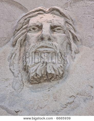 Face Of Jesus Sand Sculpture