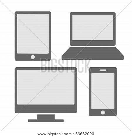 Electronic Devices Icons With White Blank Screens. Smartphones, Tablets, Computer Monitor, Laptop. V