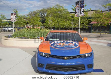 Chevrolet Camaro Mets Special Edition car in the front of the Citi Field