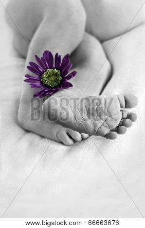 Newborn with closeup of foot in foreground