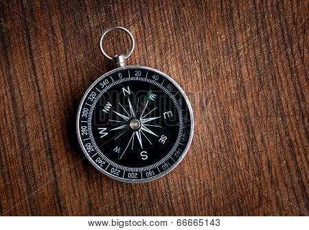 Compass on a wood background