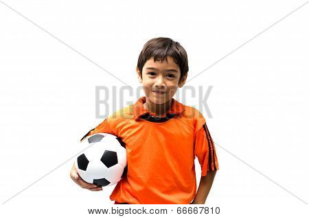 Happy Boy With Soccer Ball on white background