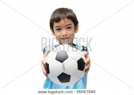 Little Boy Holding Football On White Background