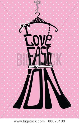 Silhouette Of  Woman Dress From Words On Polka Dot Background