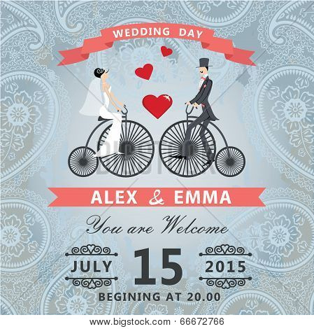 Wedding Invitation With Paisley Lace.bride ,groom In Retro Bicycle