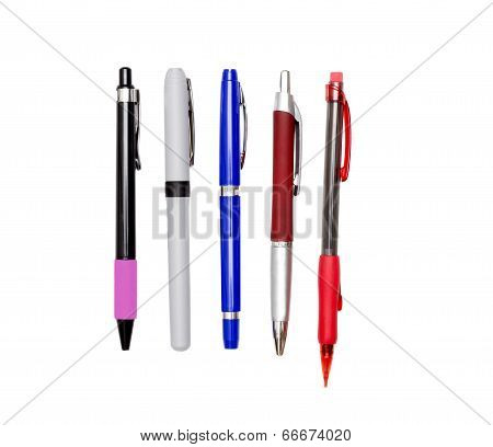 Pens And Pencil Isolated On White