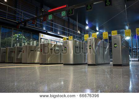 VALENCIA, SPAIN - JUNE 11, 2014: The Valencia Metro entrance at the