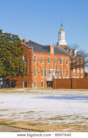 Buildings On The Campus Of A Historically Black University In Winter Vertical