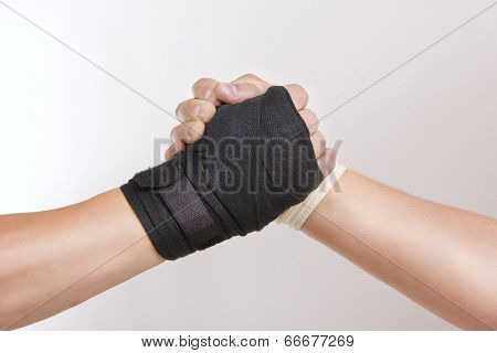 Two Hands Clasped Arm Wrestling