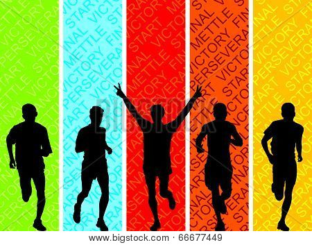 Athletes On A Colored Background.
