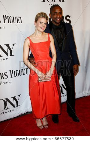 NEW YORK-JUNE 8: Actress Celia Keenan-Bolger (L) and Dule Hill attend American Theatre Wing's 68th Annual Tony Awards at Radio City Music Hall on June 8, 2014 in New York City.