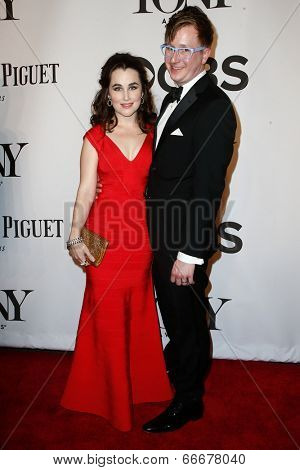 NEW YORK-JUNE 8: Actress Lauren Worsham (L) and husband Kyle Jarrow attend American Theatre Wing's 68th Annual Tony Awards at Radio City Music Hall on June 8, 2014 in New York City.