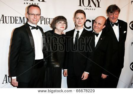 NEW YORK-JUNE 8: Costume designer Jenny Tiramani (2nd L) and Twelfth Night cast attend American Theatre Wing's 68th Annual Tony Awards at Radio City Music Hall on June 8, 2014 in New York City.