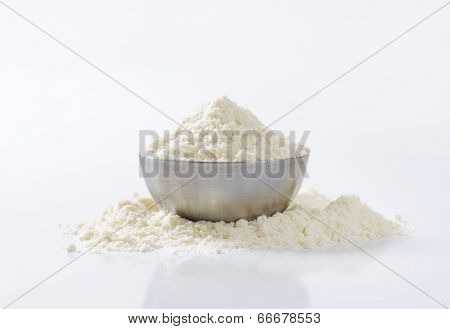 portion of soft wheat flour in the metal bowl
