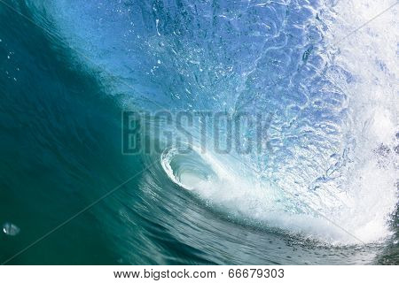 Ocean Blue Wave Tube Swim Closeup