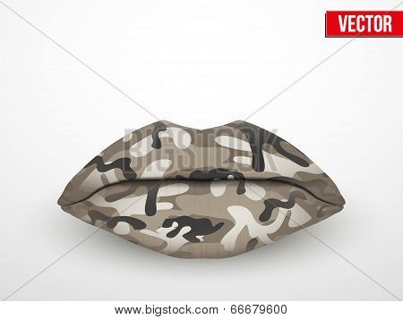Beautiful Luscious Lips. Camo Texture Vector Illustration.