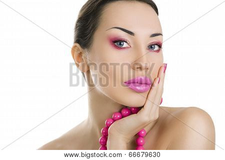 Beautiful Girl With Bright Pink Make-up And Accessory Close Up, Isolated