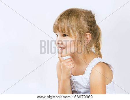 Girl With Finger Into His Mouth