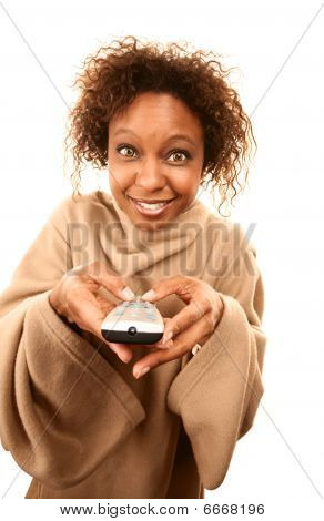 Pretty African American Woman In Blanket With Sleeves