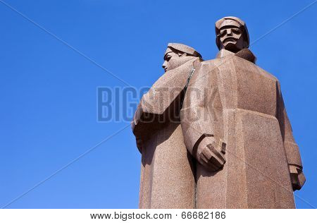 Latvian Riflemen Monument In Riga