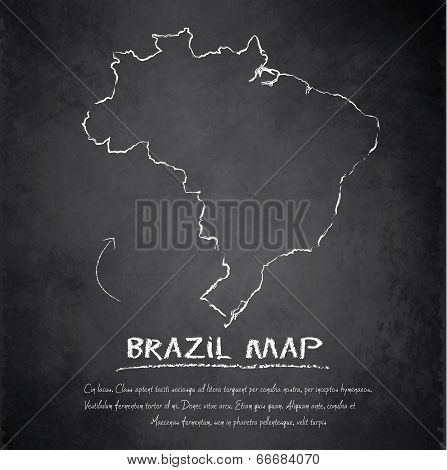 Brazil map blackboard chalkboard vector