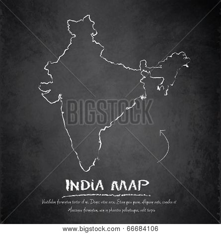 India map blackboard chalkboard vector