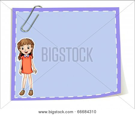 Illustration of an empty paper template with a young girl smiling on a white background