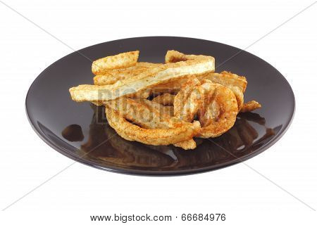 Fried Pork On Dish , Asian Food