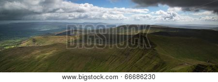 Landscape Panorama Of Cribyn Summit From Pen-y-fan Mountain In Brecon Beacons