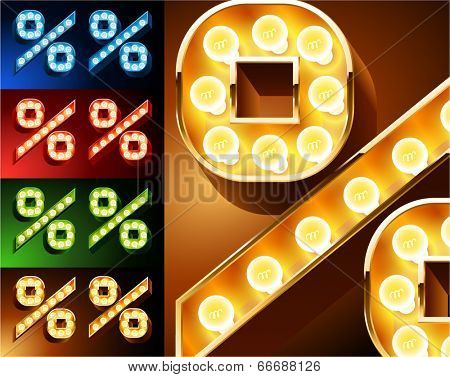 Ultimate realistic lamp board alphabet. Condensed style. Left and right options. Multicolored. Symbols 5