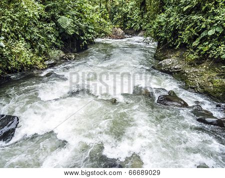 Rio Mindo, Western Ecuador, River Running Through Cloudforest At 1,400M Elevation.