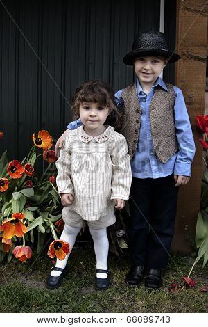 Cute Kids by Tulips