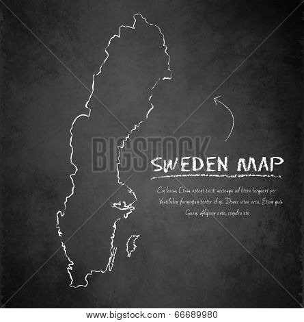 Sweden map blackboard chalkboard vector