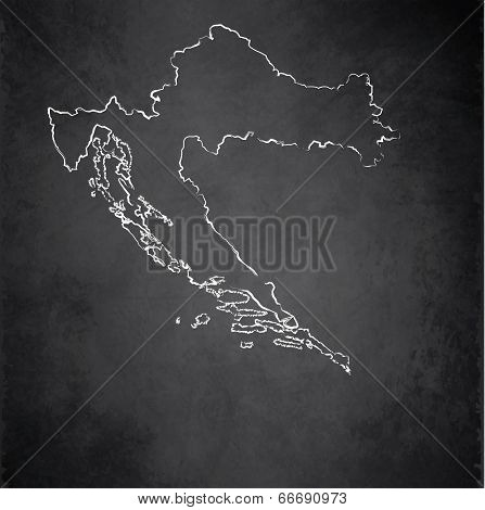 Croatia map blackboard chalkboard raster