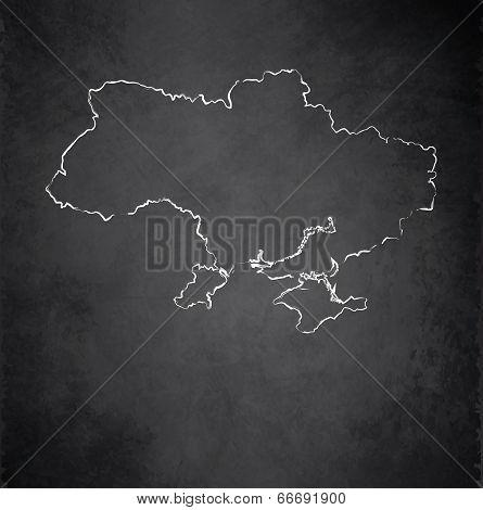 Ukraine map blackboard chalkboard raster